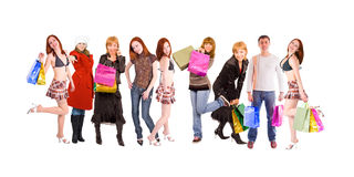 Shopping people line Royalty Free Stock Photos