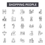Shopping people line icons, signs, vector set, linear concept, outline illustration royalty free illustration