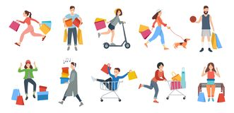 Shopping People Man and Woman Carrying Bags Set stock illustration