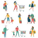 Shopping people. Persons shop family basket cart consume retail purchase store shopaholic mall supermarket shopper flat vector illustration