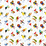 Shopping people seamless pattern. Christmas sale background.  Gr. Shopping people seamless pattern. Christmas sale background. Group of people in rush time in Royalty Free Stock Image
