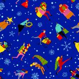 Shopping people seamless pattern. Christmas sale background. Gro. Up of people in rush time in winter hilidays eve in winter hilidays eve. Vector cartoon funny Royalty Free Stock Image