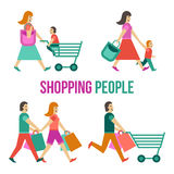 Shopping People Set Royalty Free Stock Photography