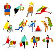 Shopping people set. Christmas sale collection. Group of people Stock Photography