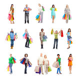 Shopping people set. Royalty Free Stock Image
