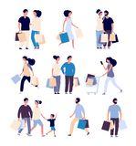 Shopping people set. Man and woman with shopping card buying product in grocery store. Isolated shopper cartoon vector royalty free illustration