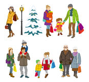 Shopping people winter, family Royalty Free Stock Photo