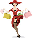 Shopping Pin-up illustration Royalty Free Stock Images