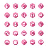 Shopping pink icons. Set of premium shopping pink icons. Cosmetics, clothes and accessories. Vector illustration stock illustration