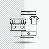 shopping plagg, köpet som är online-, shoppar linjen symbol på genomskinlig bakgrund Svart symbolsvektorillustration vektor illustrationer