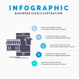 shopping plagg, k?p, shoppar direktanslutet den Infographics mallen f?r Website och presentation Gr? symbol f?r sk?ra med bl?tt i royaltyfri illustrationer