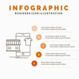 shopping plagg, k?p, shoppar direktanslutet den Infographics mallen f?r Website och presentation Linje gr? symbol med orange info vektor illustrationer