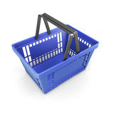 Shopping plastic basket blue Royalty Free Stock Images