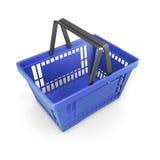 Shopping plastic basket blue Royalty Free Stock Images