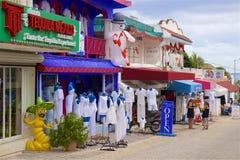 Shopping in Playa del Carmen, Mexico. Street trade in Playa del Carmen Mexico Royalty Free Stock Images