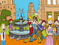Shopping Plaza. An image of a people walking in an outdoor shopping plaza stock illustration
