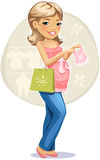 Shopping pregnant woman Stock Image
