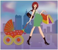 Shopping Pregnant women,  Stock Images