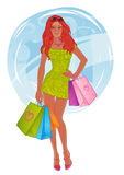 Shopping pretty girl. Vector illustration. Stock Photos