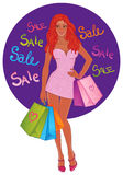 Shopping pretty girl. Vector illustration. Stock Images