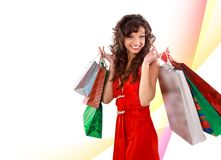 Shopping pretty woman Stock Photos