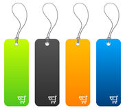 Shopping price tags in 4 colors. Set of 4 shopping price tags with tie strings Royalty Free Stock Image