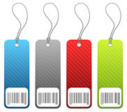 Shopping price tags in 4 colors Royalty Free Stock Photos