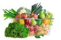 Shopping for produce. A shopping basket full of fresh produce Royalty Free Stock Photo