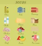 Shopping product foods. Flat decorative icons set. Royalty Free Stock Photography
