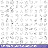 100 shopping product icons set, outline style. 100 shopping product icons set in outline style for any design vector illustration royalty free illustration
