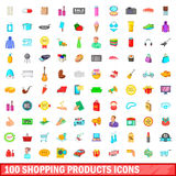100 shopping products icons set, cartoon style. 100 shopping products icons set in cartoon style for any design vector illustration Royalty Free Stock Image