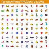 100 shopping products icons set, cartoon style. 100 shopping products icons set in cartoon style for any design illustration stock illustration
