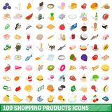 100 shopping products icons set, isometric style. 100 shopping products icons set in isometric 3d style for any design illustration royalty free illustration