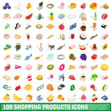 100 shopping products icons set, isometric style Stock Photo