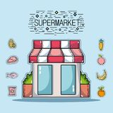 Shopping products in the supermarket with variety food. Vector illustration Stock Image