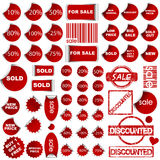Shopping promotional elements. Shopping red promotional elements with different shapes Royalty Free Stock Photo