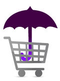 Shopping protected by an umbrella Stock Photo