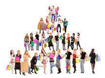Shopping pyramid Stock Images