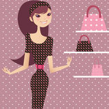 Shopping queen. Beautiful girl shopping for fashion goods vector illustration