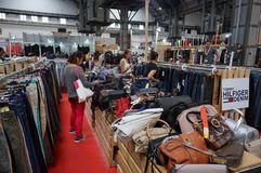 Shopping at the Radical Market. Photo of people shopping at the radical market in barcelona spain on 9/27/18. This market offers steep discounts on cosmetics royalty free stock photography