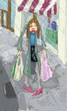 Shopping in the rain. Illustration of a woman looking fedup shopping in the rain stock illustration