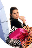 Shopping with rain Royalty Free Stock Photo