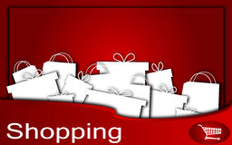 Shopping. Red background with presents and bags Royalty Free Stock Photos