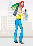 Shopping redhead. Illustration of young beautiful redhead woman with shopping bags stock illustration