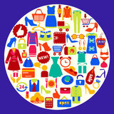 Shopping related icons-illustration Royalty Free Stock Photography