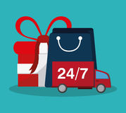 Shopping related icons image. 24 7 delivery truck shopping related icons image  illustration design Royalty Free Stock Photo