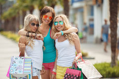 Shopping in the resort for women travelers Stock Image