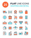 Shopping and Retail. Abstract vector collection of flat line shopping and retail icons. Elements for mobile and web applications Royalty Free Stock Images