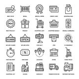 Shopping and Retail. Abstract vector collection of line shopping and retail icons. Elements for mobile and web applications Stock Image