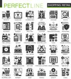Shopping, retail and commerce black mini concept icons and infographic symbols set. royalty free illustration